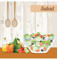 Fresh vegetables salad with olive oil vector image