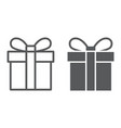 gift box line and glyph icon christmas package vector image