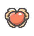 give heart hands icon cartoon vector image vector image