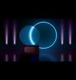 glass award in dark room with neon lights vector image vector image