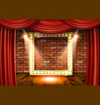 gold frame on wood with red curtain vector image