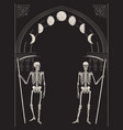 grim reapers with scythes gothic frame vector image vector image
