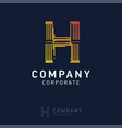 h company logo design with visiting card vector image vector image