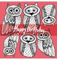 Happy birthday Decorative Hand dravn Cute Owl vector image vector image