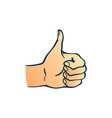 human hand showing thumbs up gesture in sketch vector image vector image