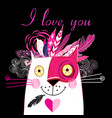 in love cat vector image vector image