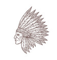 indian chief head native american headdress sketch vector image