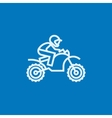Man riding motocross bike line icon vector image vector image