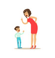 mother yelling at her son negative emotions vector image vector image