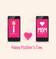 mothers day connecting love together by phone vector image vector image