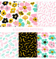 nature flower trendy seamless patterns vector image vector image