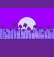 night landscape with palm trees and moon glare vector image vector image