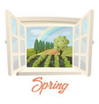 outside view through window at spring field vector image vector image