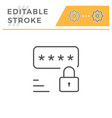 password editable stroke line icon vector image