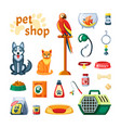 pet set shop accessories for pets colored parrot vector image