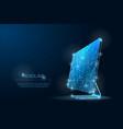 polygonal low poly desktop monitor it symbol vector image