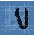 Round engineering font Symbol V vector image