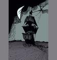 sailing ship at sea hand-drawn abstract gray-black vector image vector image
