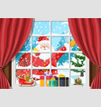 santa in window of room with christmas tree vector image vector image