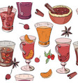 seamless pattern with glasses of mulled wine tea vector image vector image