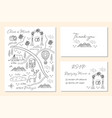 set wedding invitation cards with map vector image vector image