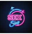 sex shop neon sign gender man woman symbol vector image