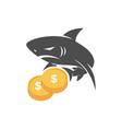 shark money stack logo design isolated vector image