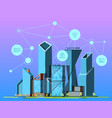 smart city skyscrapers in urban landscape high vector image
