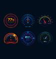 speedometer neon light gauge arrows indicators vector image