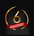 template gold logo 6 years anniversary with red vector image vector image