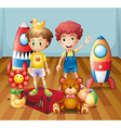 Two boys surrounded with toys vector image vector image