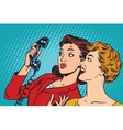 Two girlfriends and a telephone vector image vector image