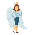 woman in office suit with angel wings and halo vector image vector image
