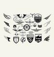 monochrome mega set of retro emblems design vector image