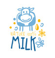 farm nature milk logo symbol colorful hand drawn vector image