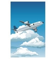 airplane flying blue sky clouds good weather vector image