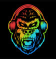 angry gorilla headphone colorful vector image vector image