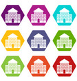bank building icon set color hexahedron vector image vector image