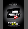 black friday sale banner with white text vector image vector image