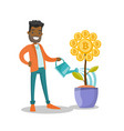 businessman watering flower with bitcoin symbol vector image