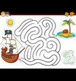 cartoon maze activity with pirate and treasure vector image vector image