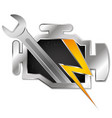 check engine symbol wrench and lightning vector image