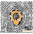 Creative light bulb idea concept with fingerprint vector image vector image