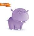 cute standing and squinting cartoon bahippo vector image