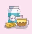 delicious breakfast cartoons vector image