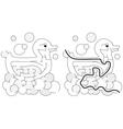 Easy duck maze vector image