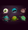 evil planet concept scary monster planets set vector image vector image
