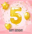 five birthday greeting card on shiny pink vector image vector image