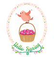 Flying Bird In Floral Frame With Lettering vector image vector image