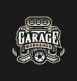 garage workshop car logo emblem on a dark vector image vector image